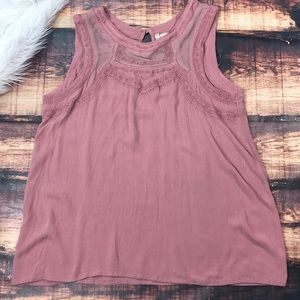 Mauve Pink Embroidered Loose Tank Top Shirt